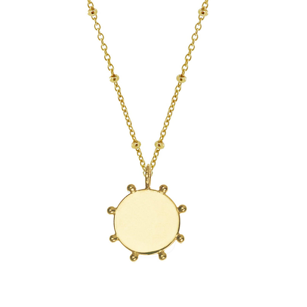 Bobble Edge Disc Necklace - Gold