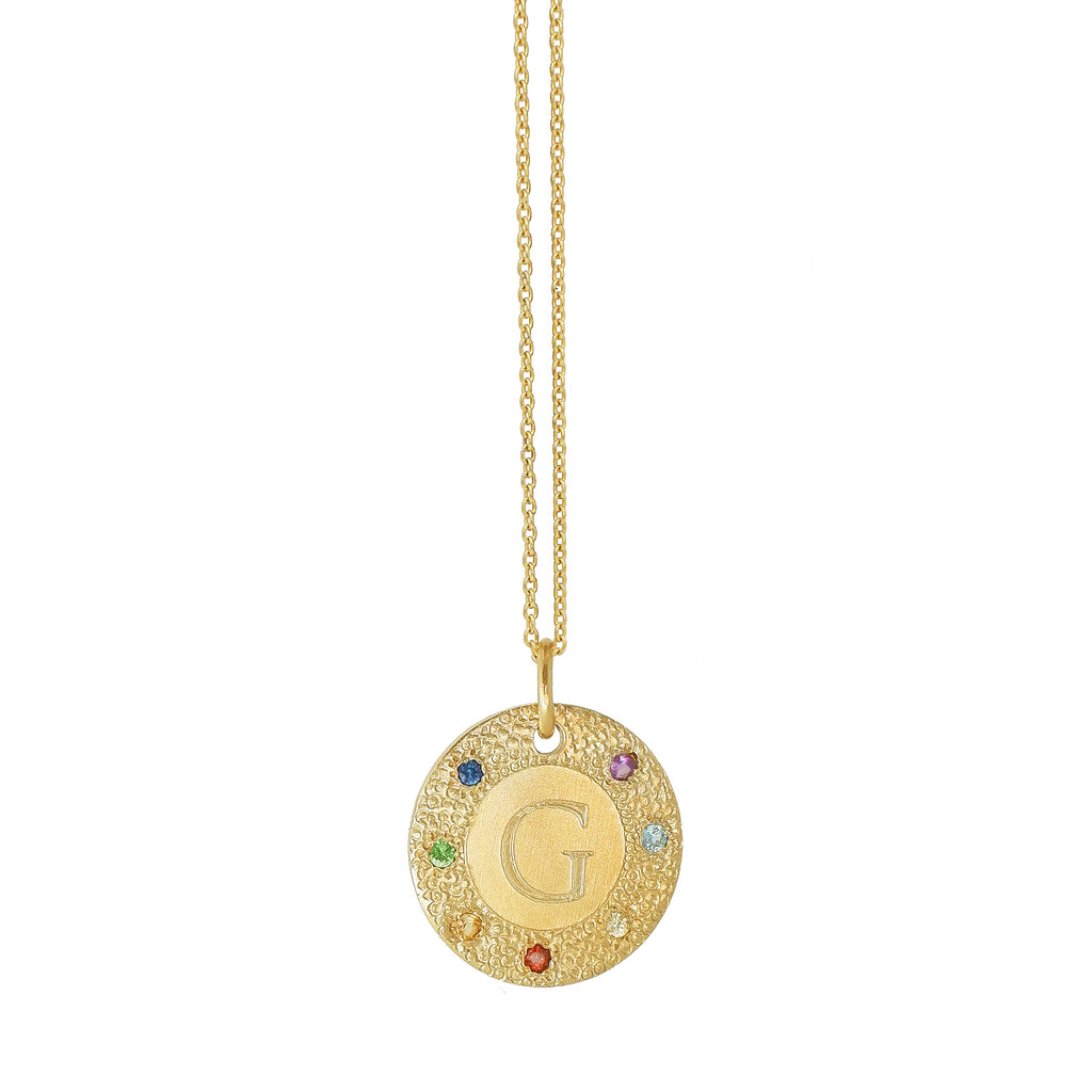 Chakra Initial Disc Necklace