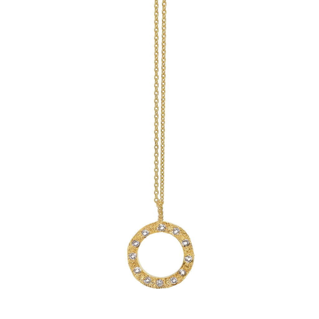 Eternity Circle Necklace with White Topaz - Gold