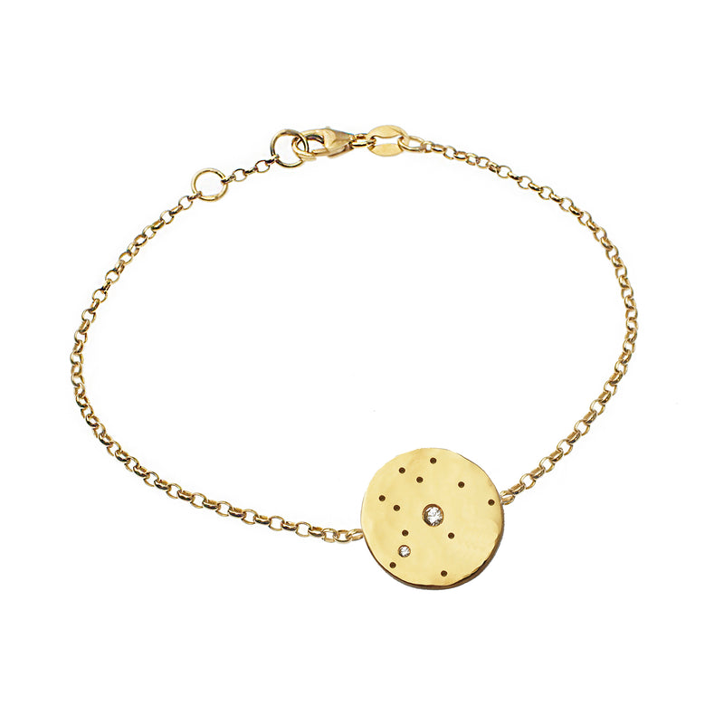 Zodiac Constellation Disc Ring with White Sapphires - Gold