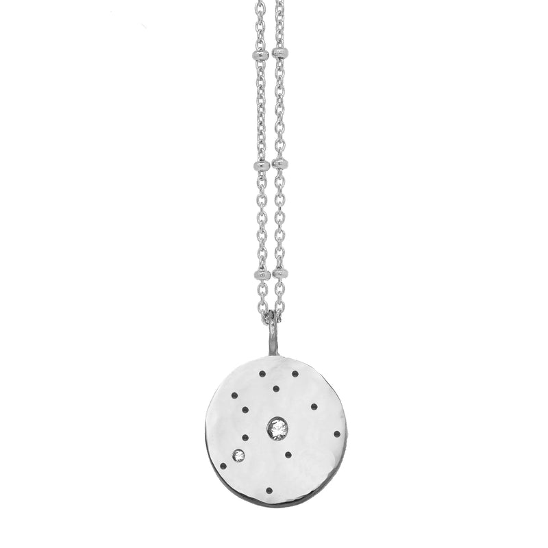 Zodiac Constellation Necklace with White Sapphires - Silver