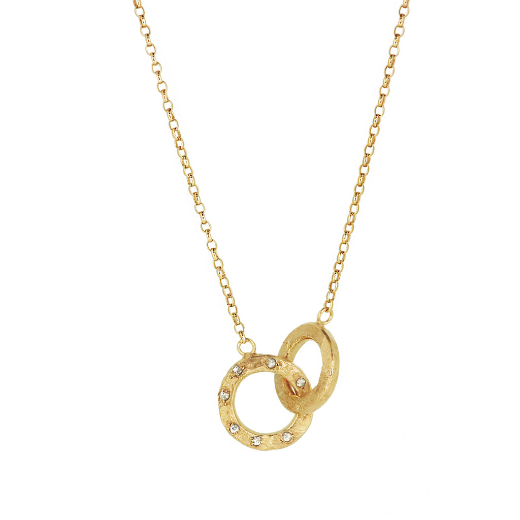 Double Linked Halo Necklace - Gold with White Sapphires