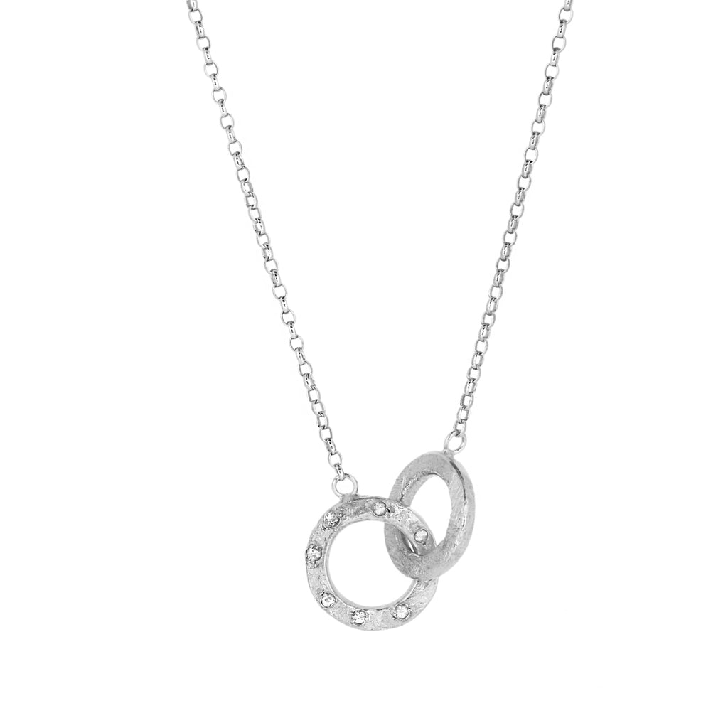 Double Linked Halo Necklace - Silver with White Sapphires