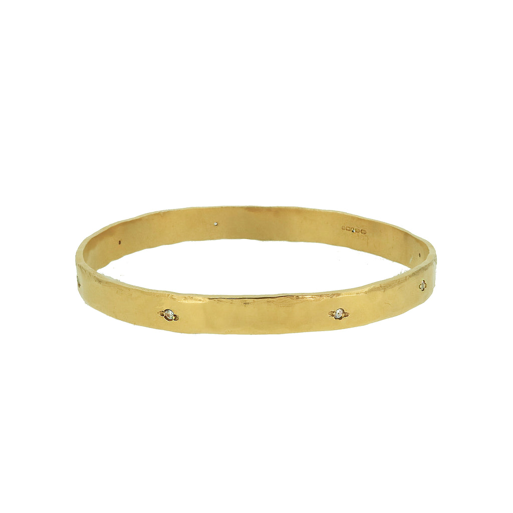 Eight Stone White Sapphire Bangle - Gold