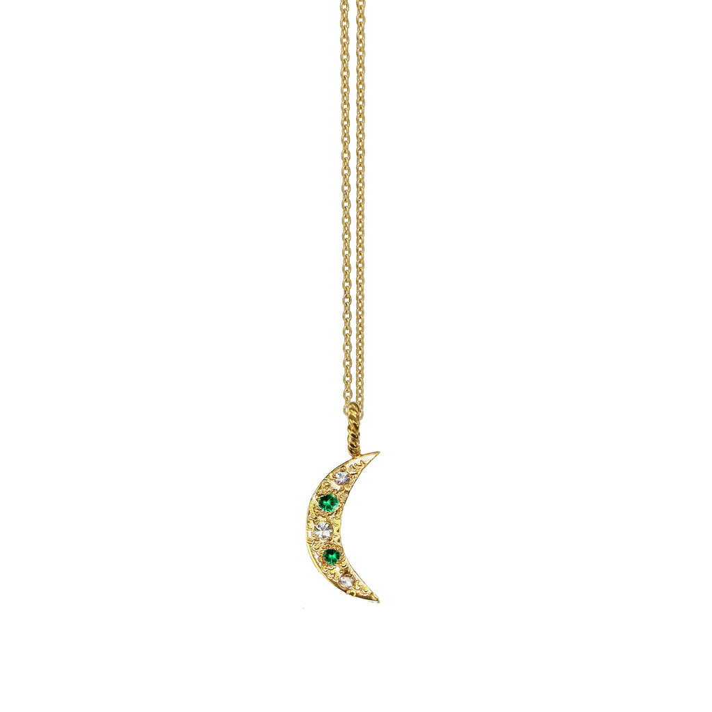 Crescent Moon Necklace with Emeralds and White Sapphires