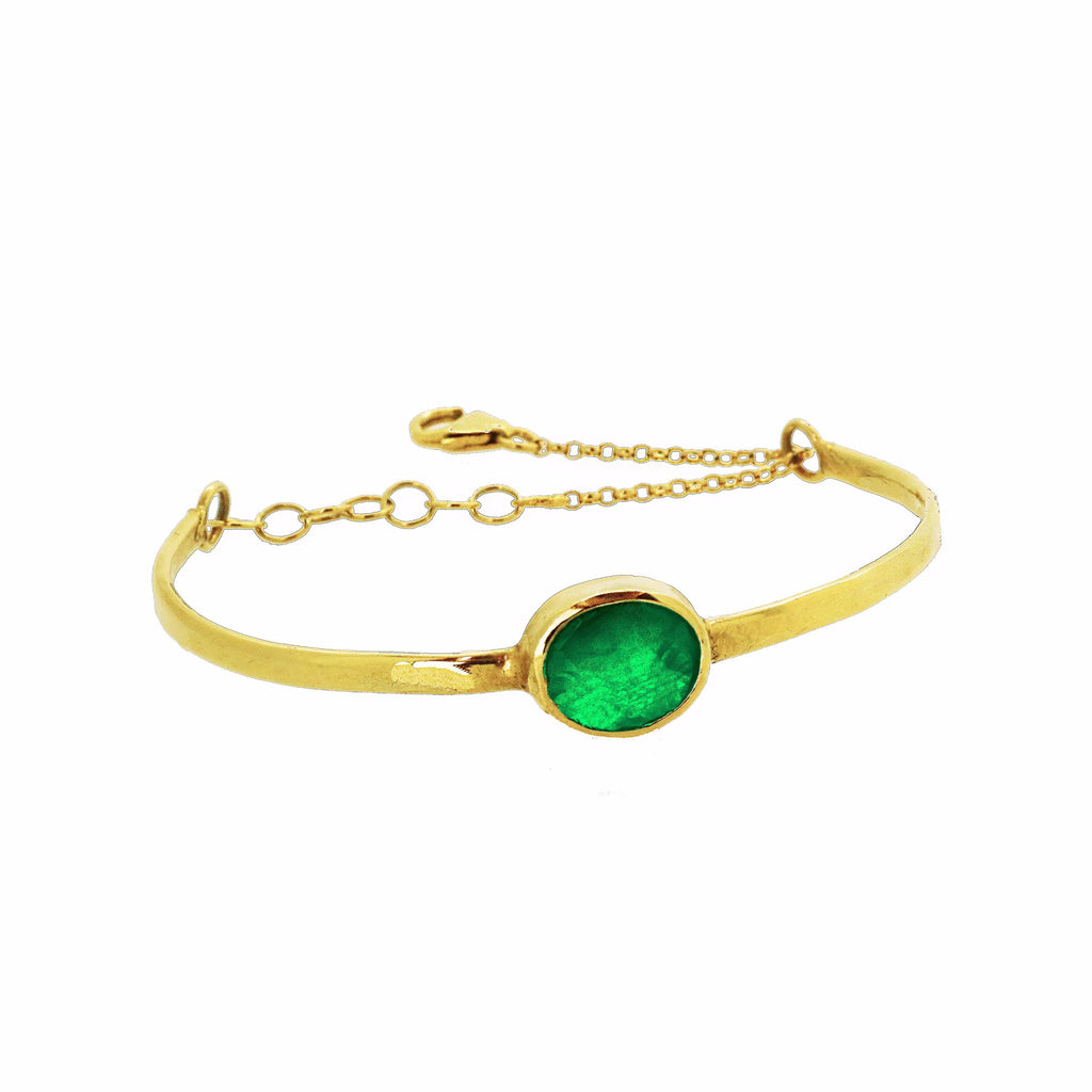 Chain Detail Bangle with Green Agate - Gold