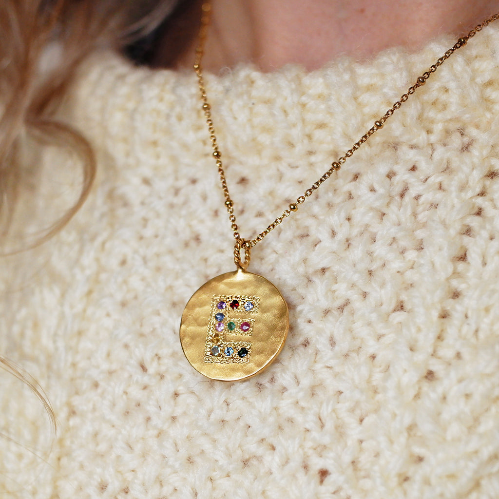Multi Coloured Jewel Set Initial Disc Necklace  - Gold