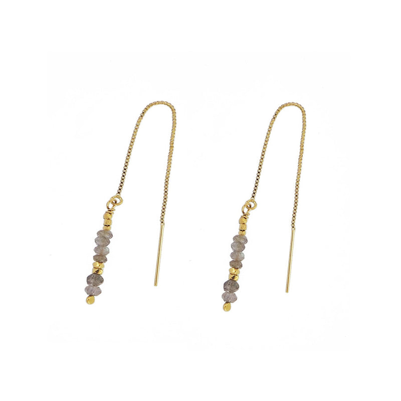 Labradorite and Gold Nugget Thread Through Earrings