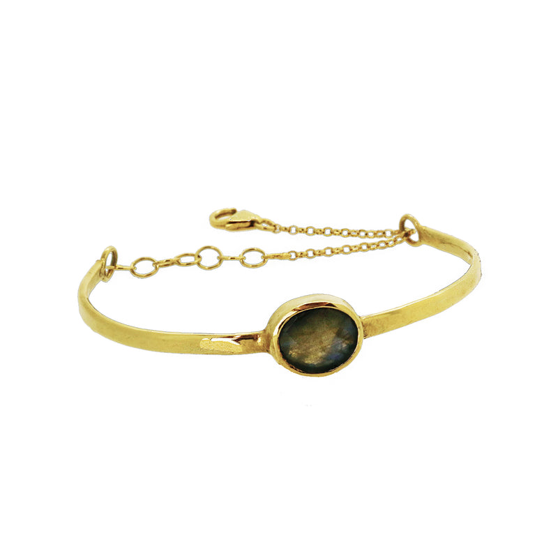 Chain Detail Bangle with Labradorite - Gold