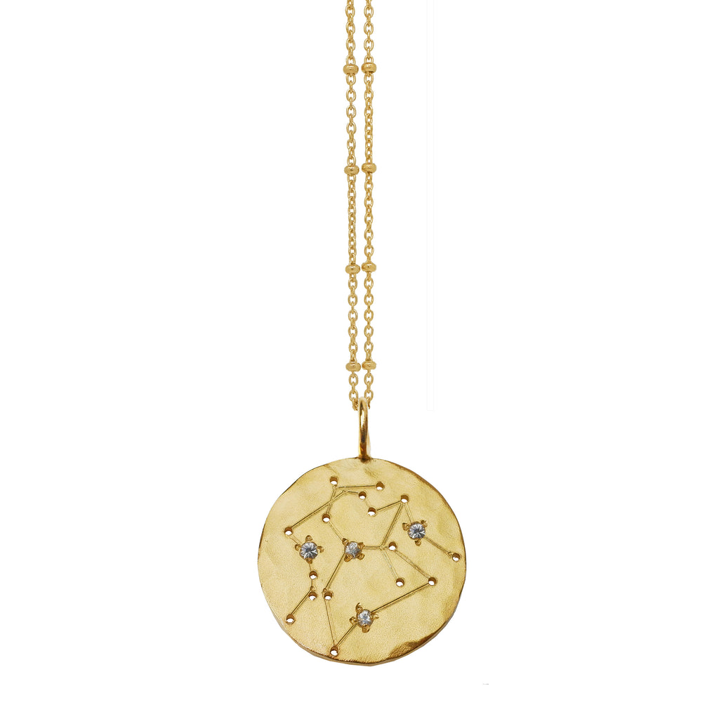 Layered Zodiac Constellation Necklace with White Sapphires - Gold