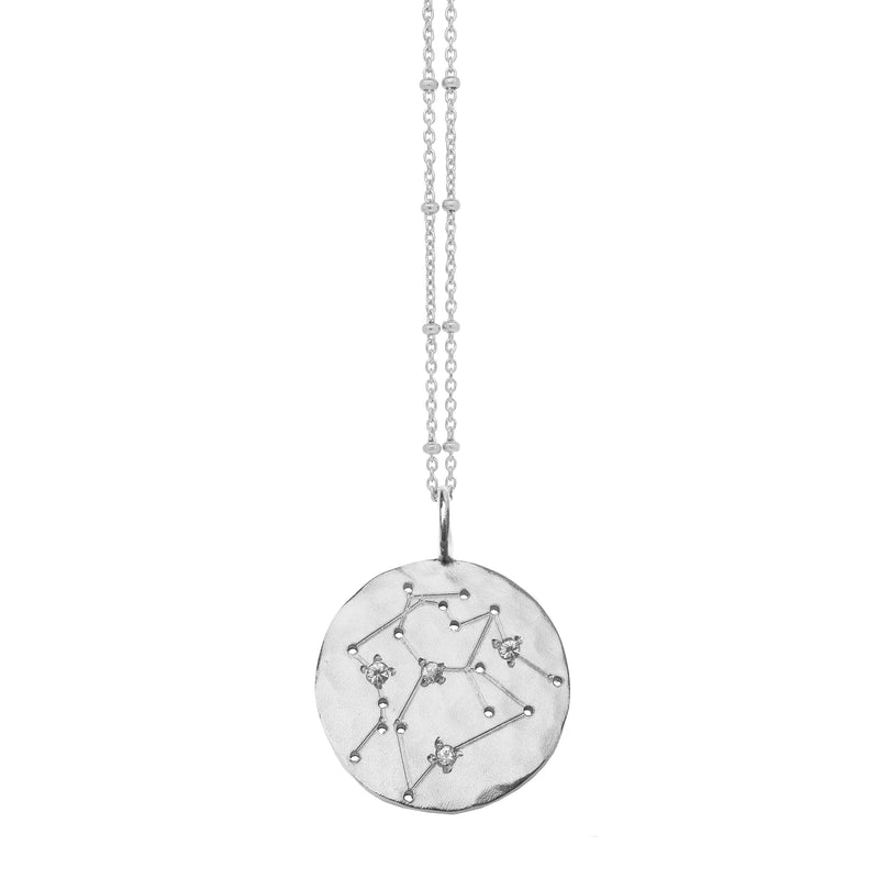 Layered Zodiac Constellation Necklace with White Sapphires - Silver