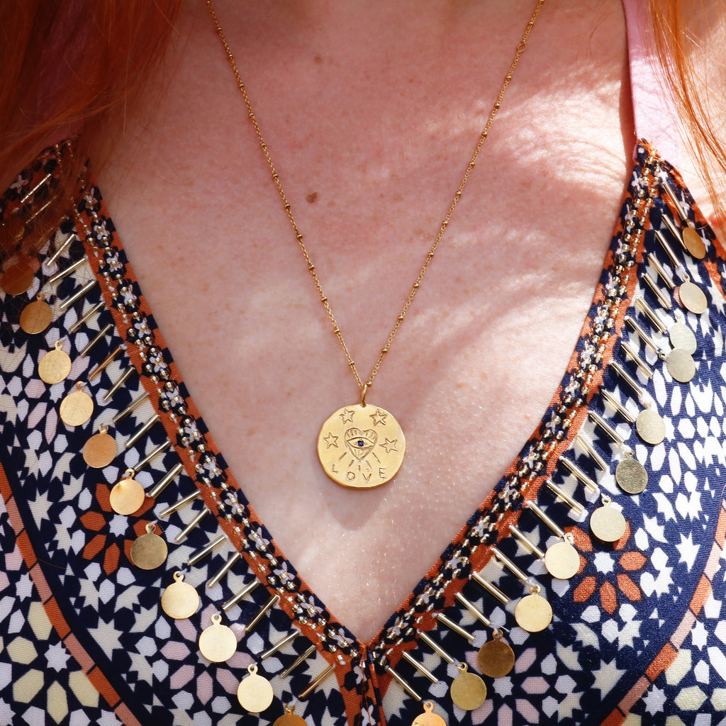 Love Talisman Evil Eye Necklace - Gold