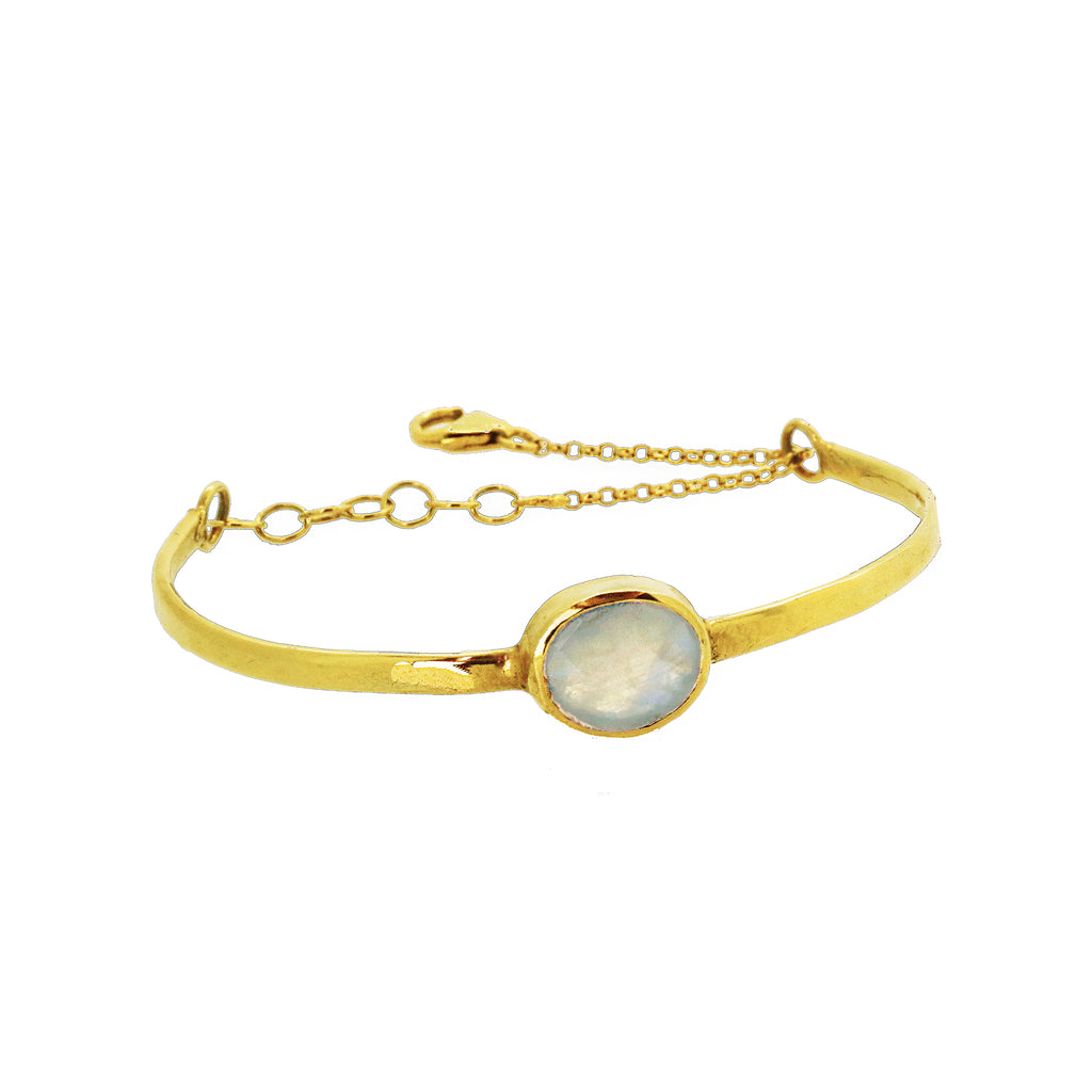 Chain Detail Bangle with Moonstone - Gold