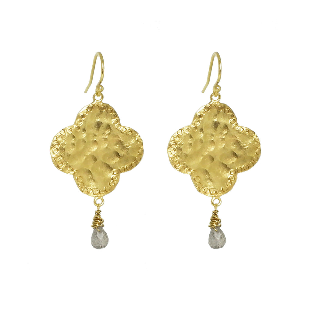 Moroccan style earrings with clover shaped drops, quatrefoil earrings