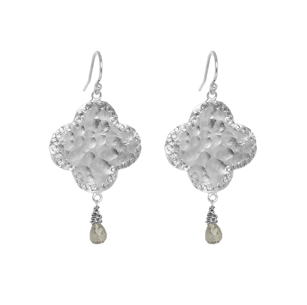 Moroccan Style Statement Clover Earrings with Labradorite - Silver