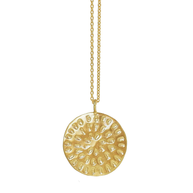 Large Moroccan Pattern Disc Necklace - Gold