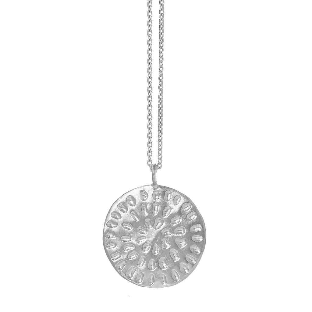 Large Moroccan Pattern Disc Necklace - Silver
