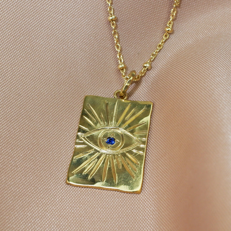 Evil Eye Oblong Necklace with Blue Sapphire - Gold