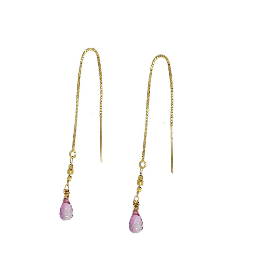 Pink Topaz and Gold Nugget Thread Through Earrings
