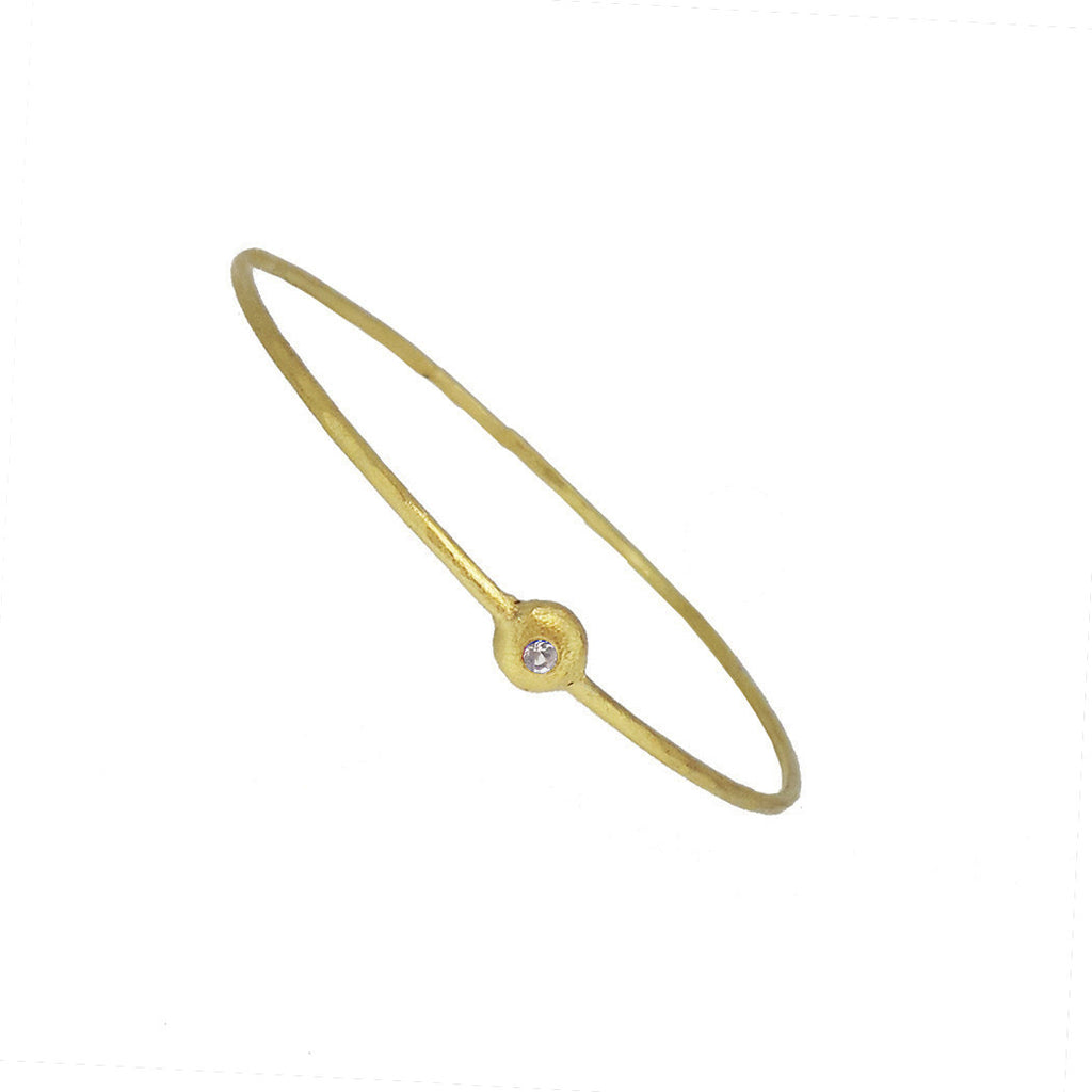 Gold Nugget Bangle with White Sapphire