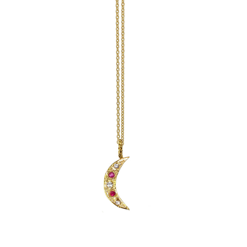 Crescent Moon Necklace with Ruby and White Sapphires