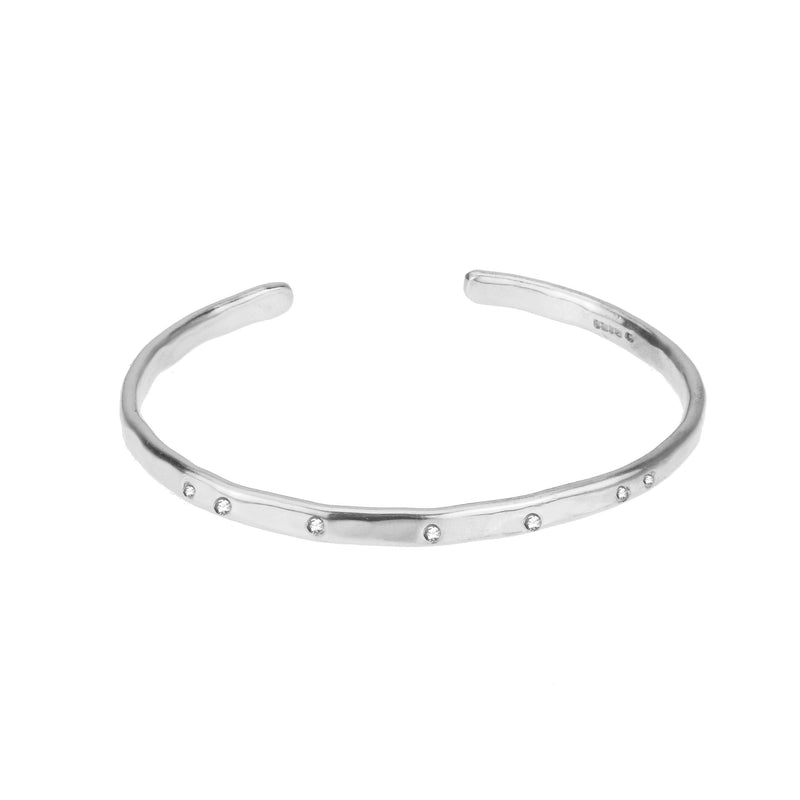 Torque Bangle with White Sapphires - Silver