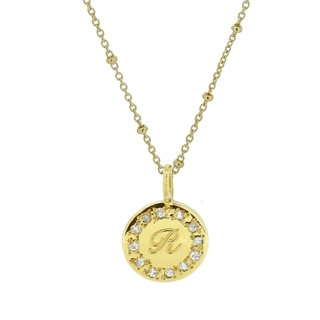 Initial Disc Necklace with Pave Set White Sapphire Edging  - Gold