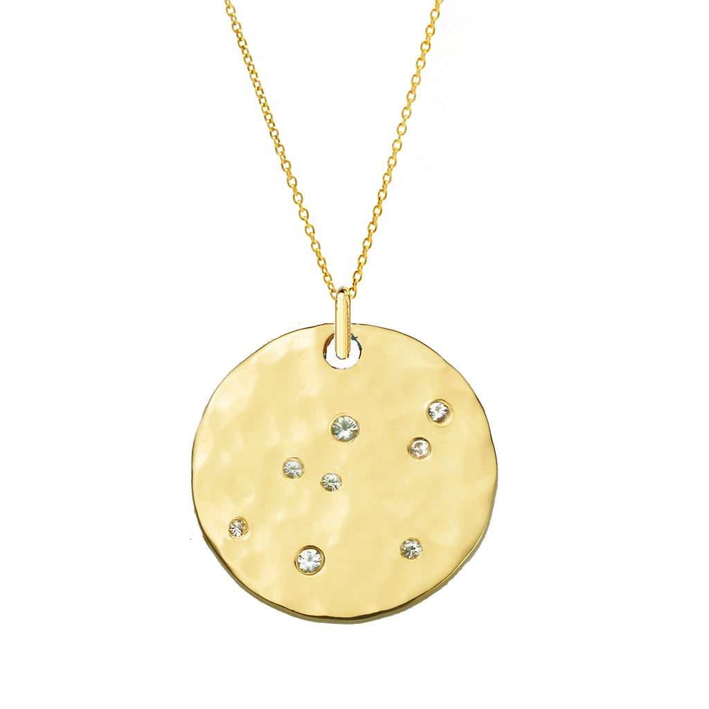 White Sapphire Large Disc Scatter Necklace - Gold