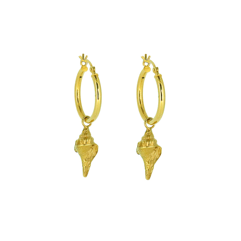 Shell Hoop Earrings - Gold