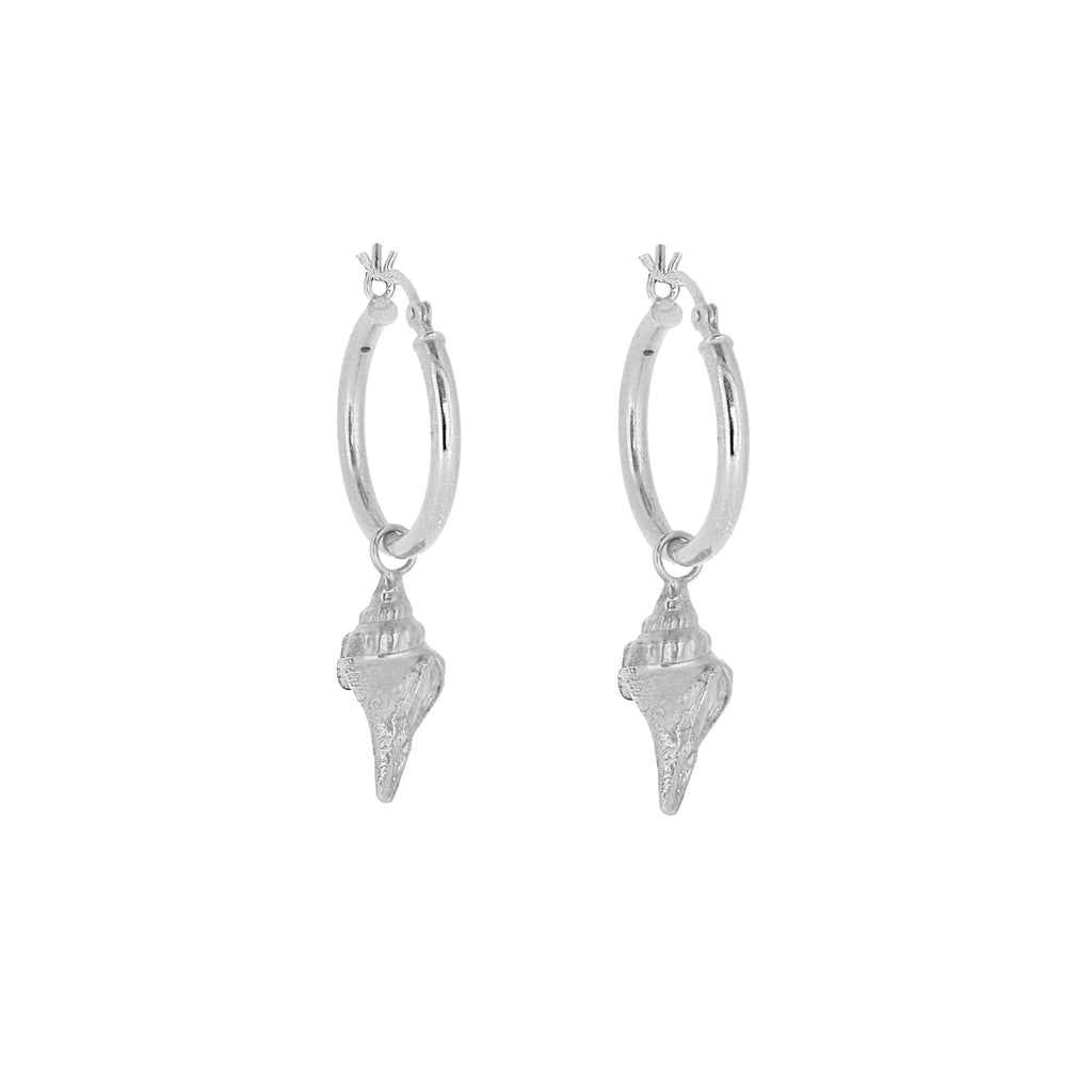 Shell Hoop Earrings - Silver