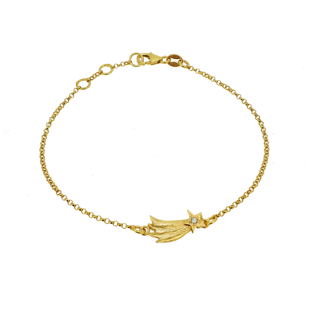 Shooting Star Bracelet with Diamond - Gold