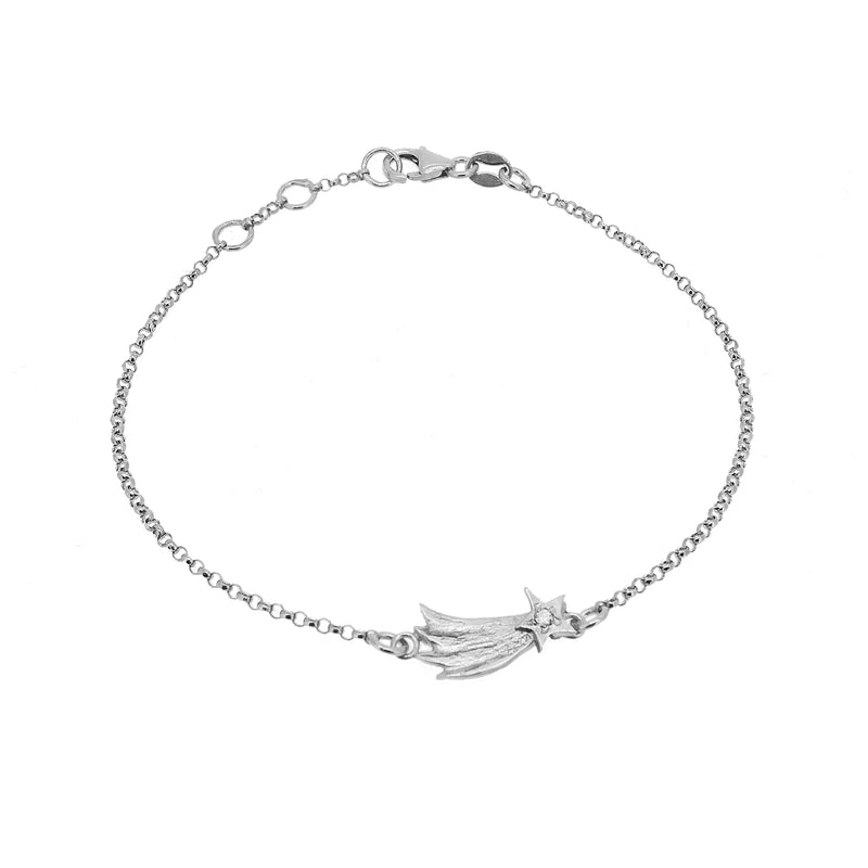 Shooting Star Bracelet with Diamond - Silver