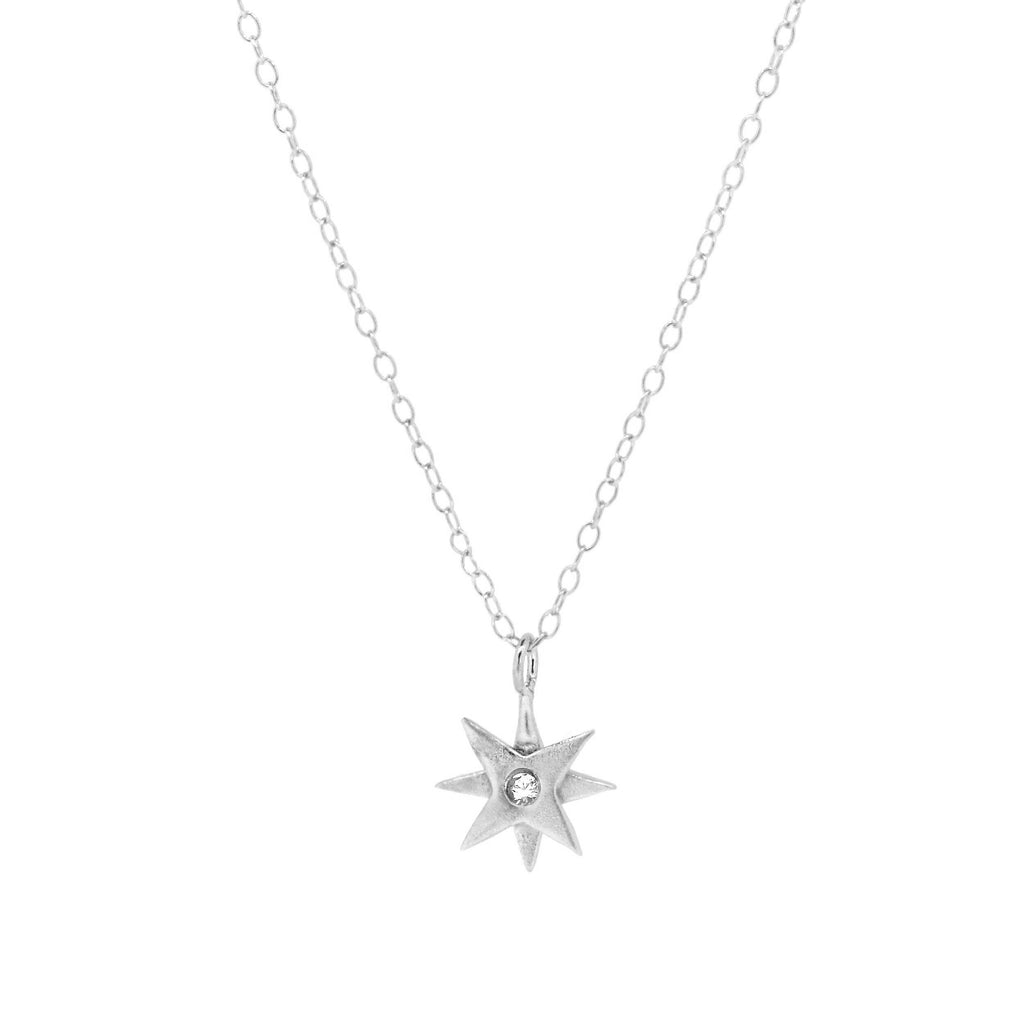 Tiny Star Necklace with White Sapphire - Silver