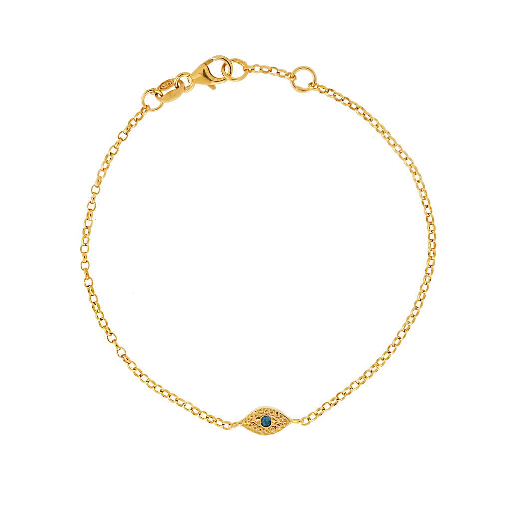 Tiny Evil Eye Bracelet with Blue Sapphire  - Gold