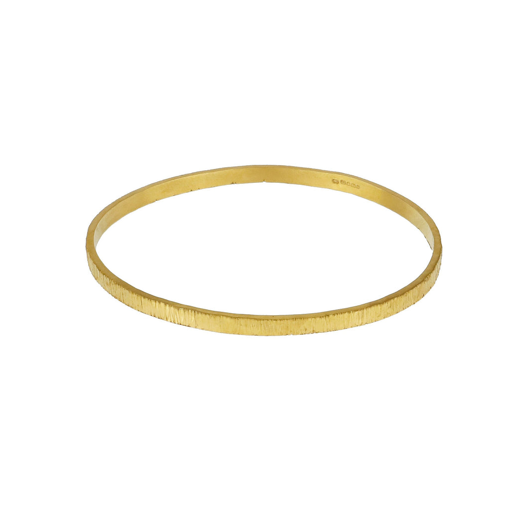 Bark Effect Bangle - Gold