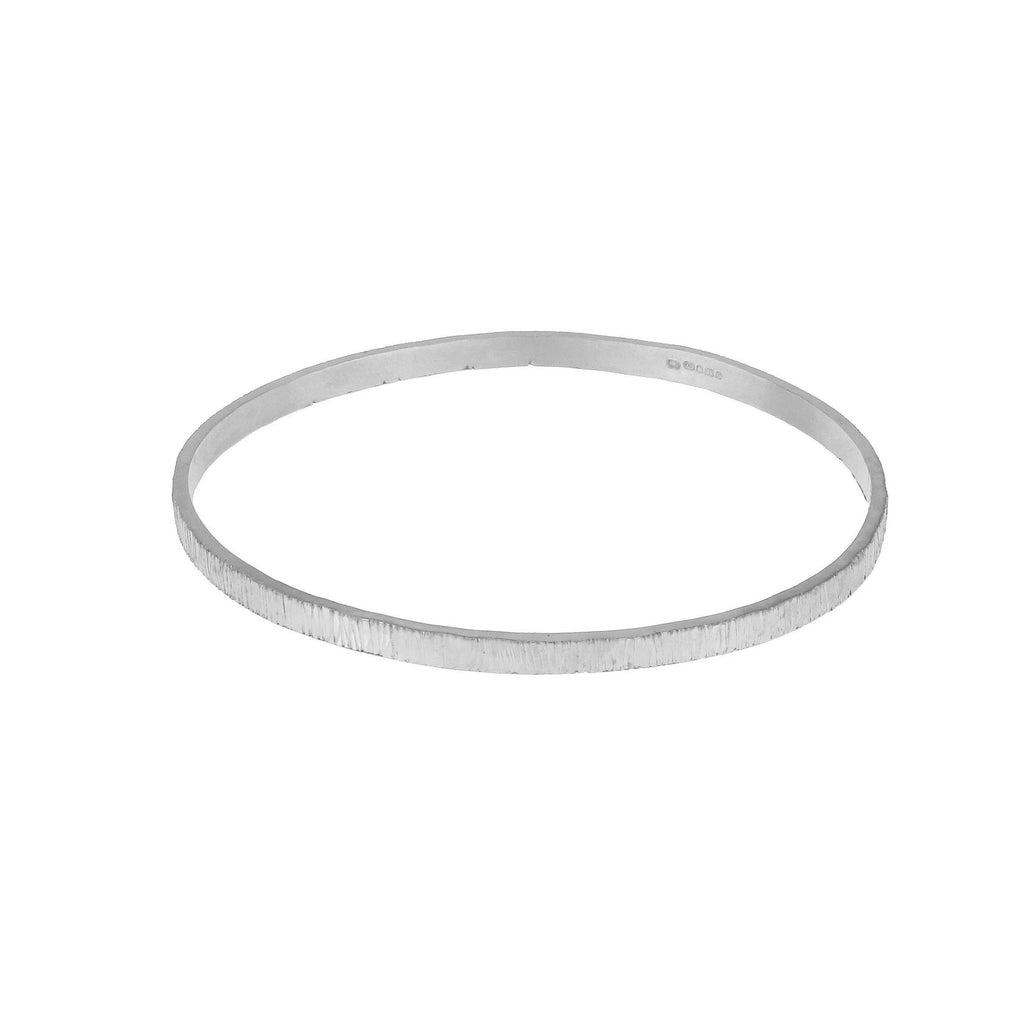 Bark Effect Bangle - Silver