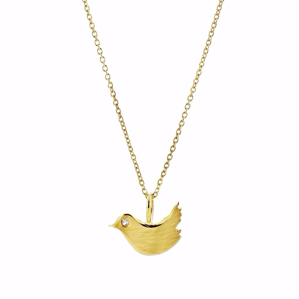 Birdy Necklace with White Sapphire - Gold