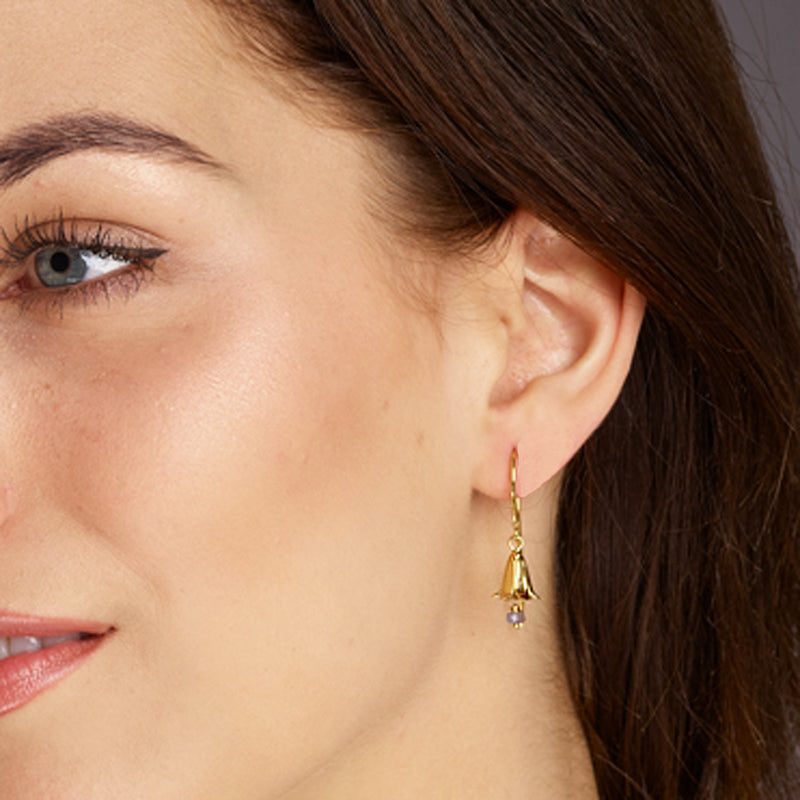 Bluebell Earrings with Iolite Drop - Gold