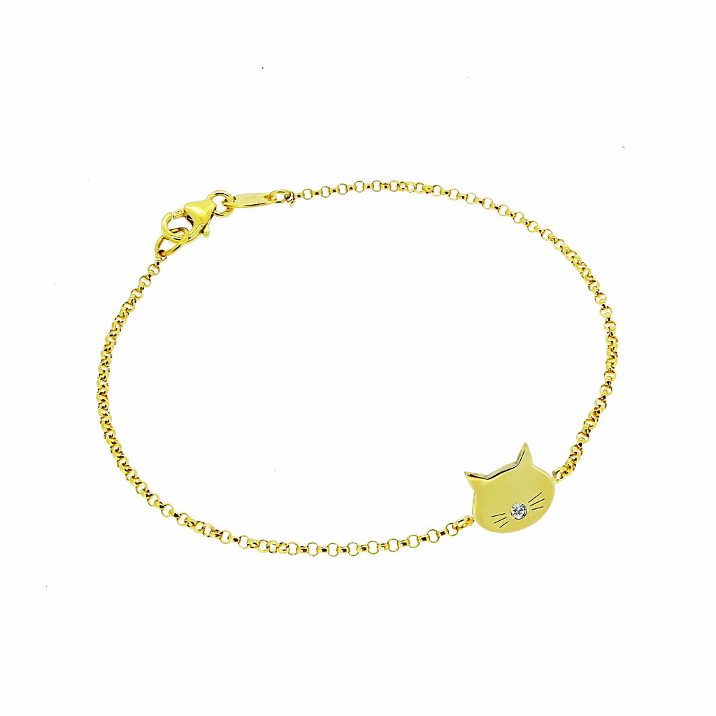 Tiny Cat Face Bracelet with White Sapphire Nose  - Gold