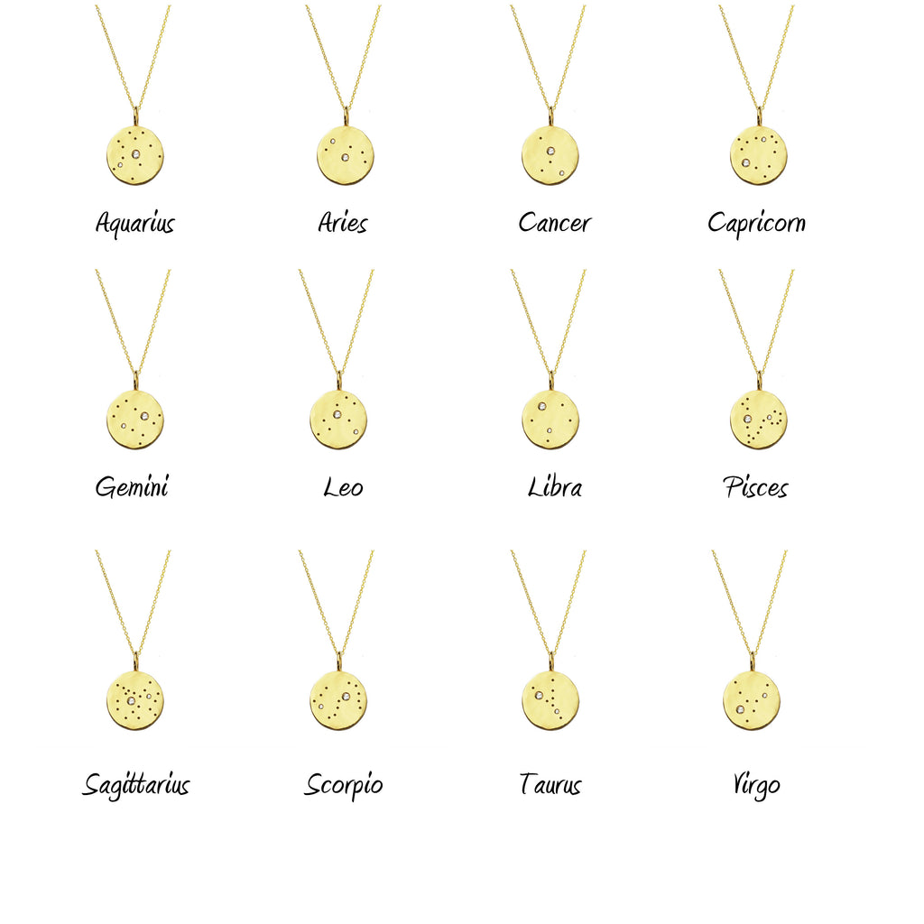 Zodiac Constellation Necklace with White Sapphires - Gold