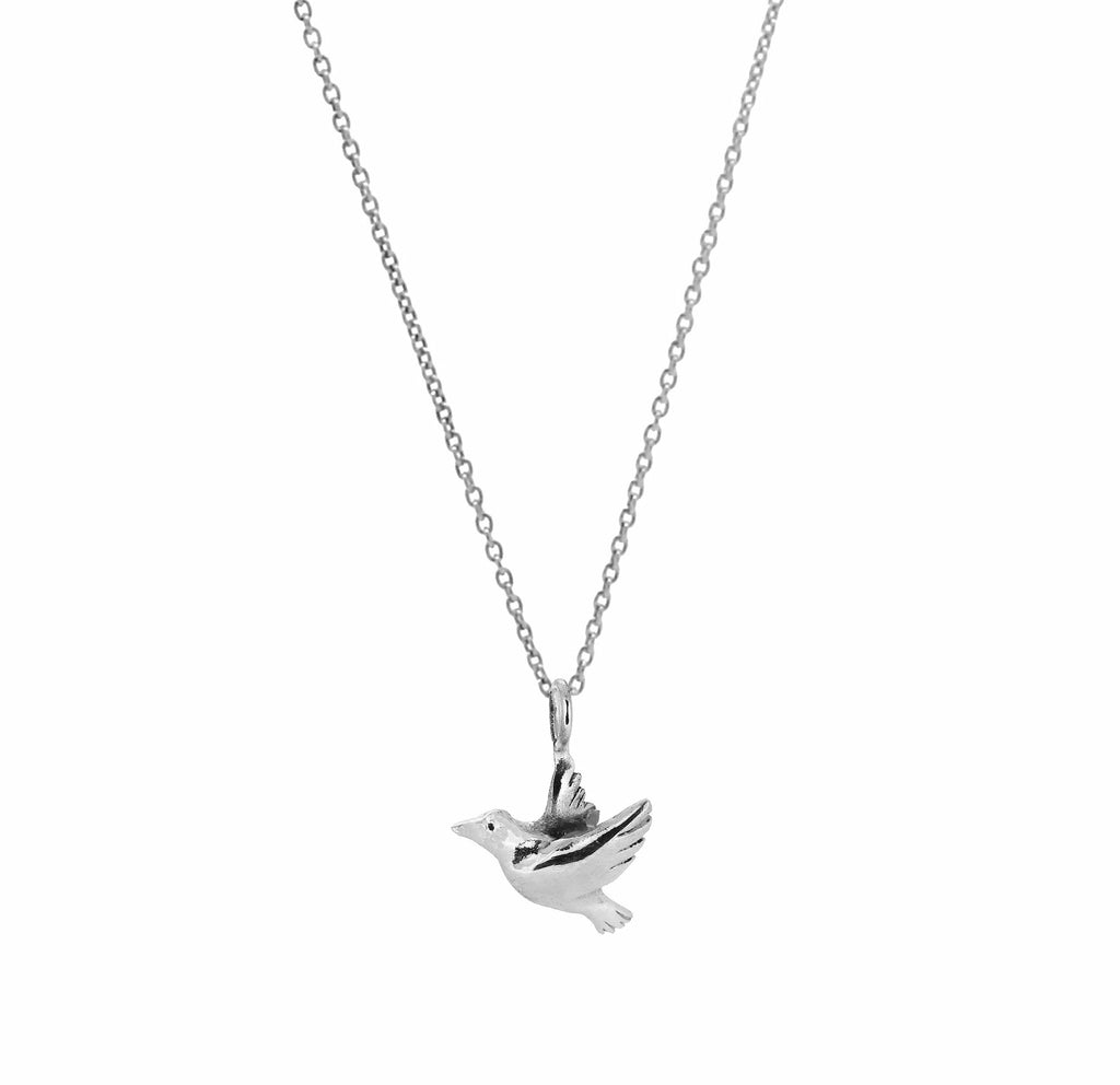 Flying Dove Necklace - Silver