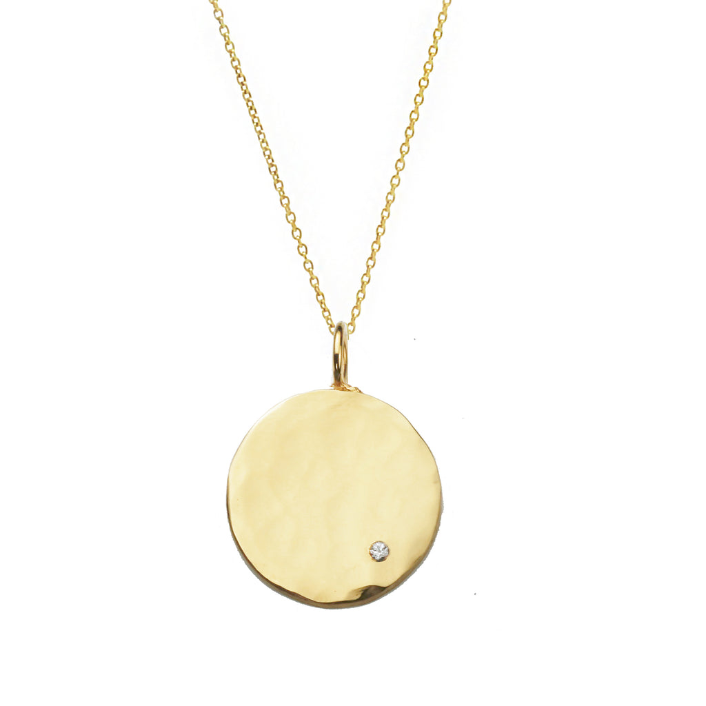 Organic Disc Necklace With White Sapphire - Gold