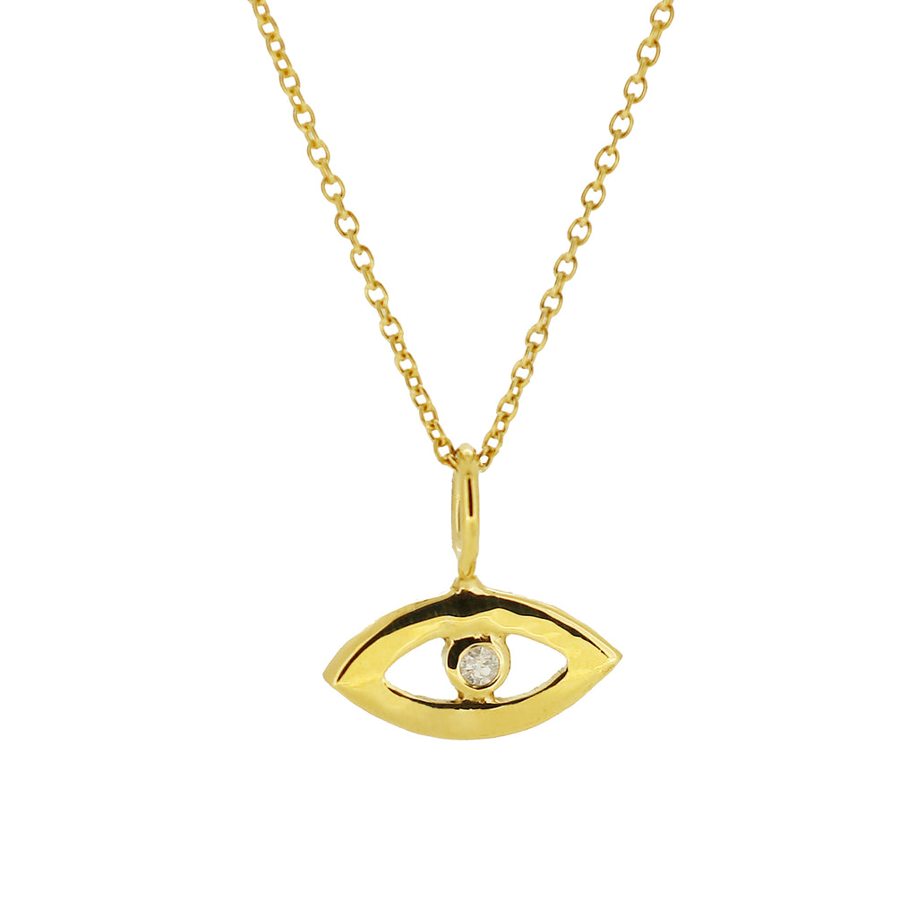 Gold Evil Eye Necklace with White Sapphire