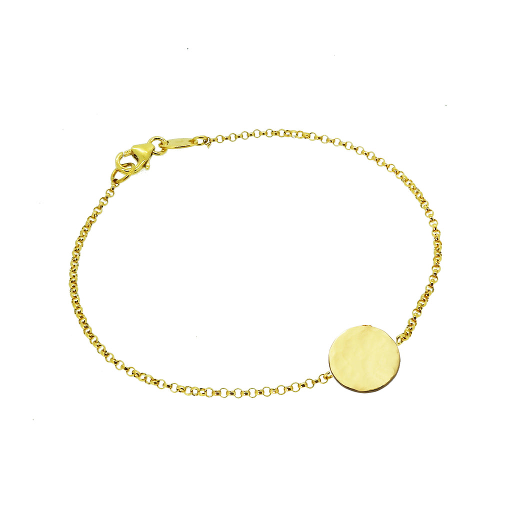 Personalised Hammered Disc Bracelet - Gold (Large)