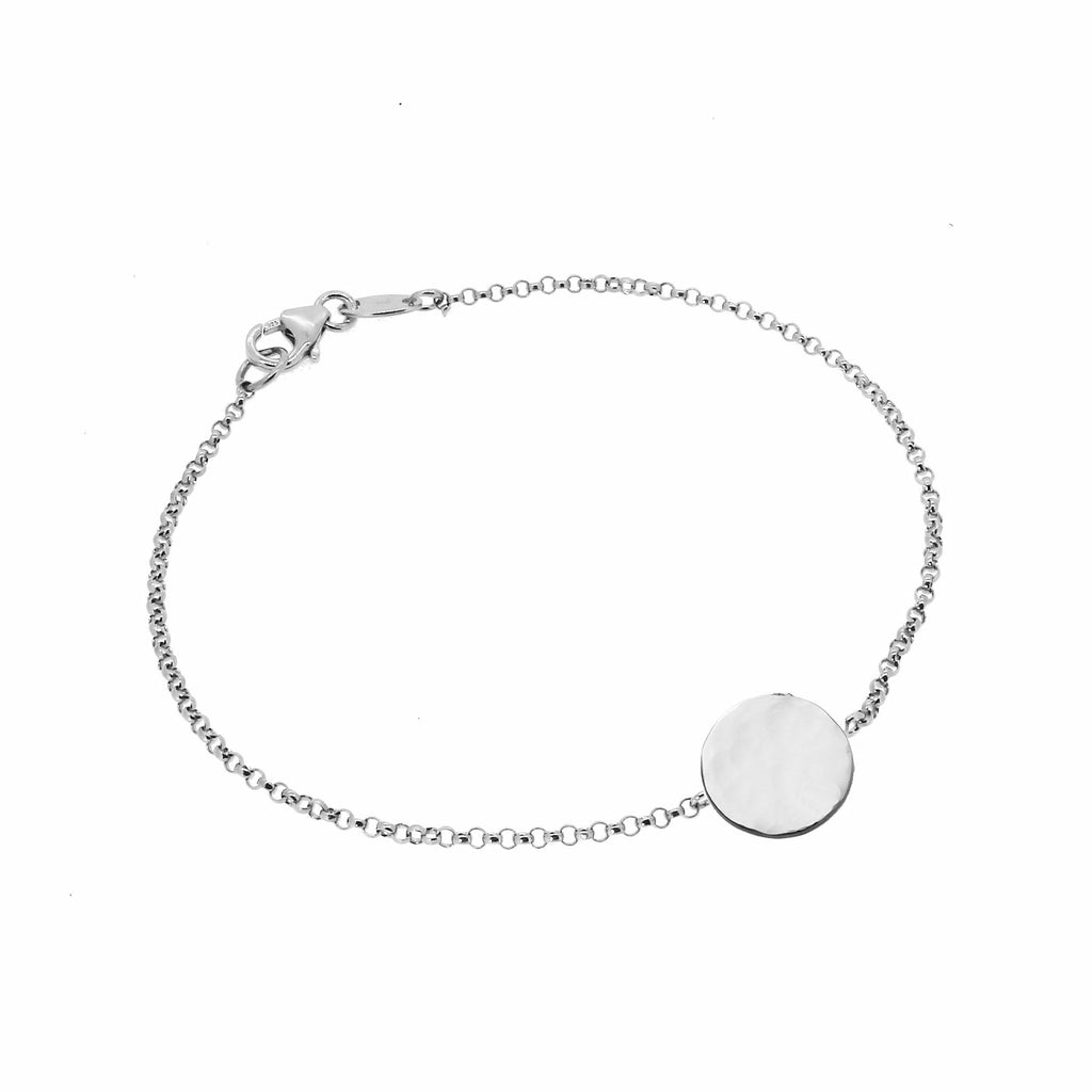 Personalised Hammered Disc Bracelet - Silver (Large)