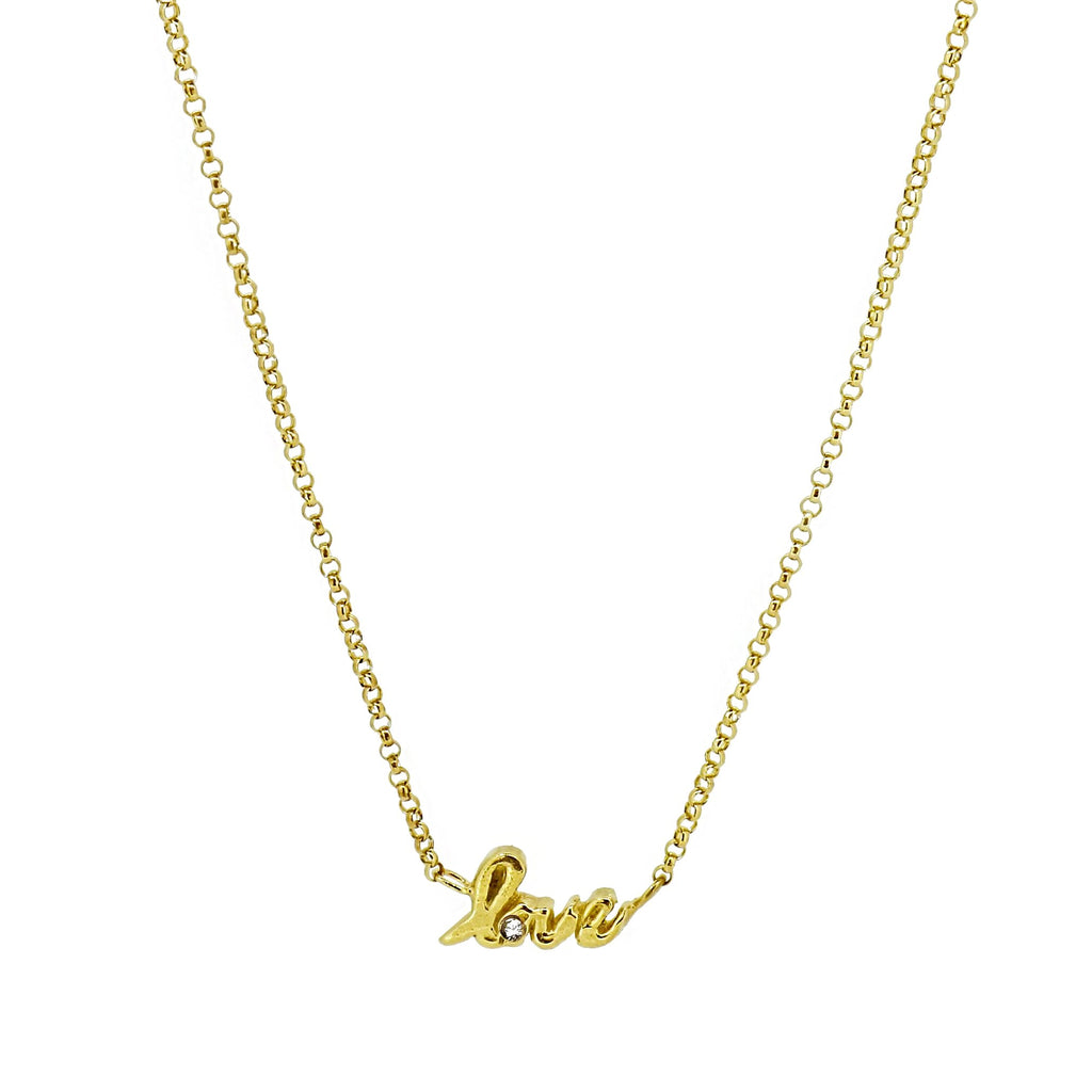 Love Script Necklace with White Sapphire - Gold