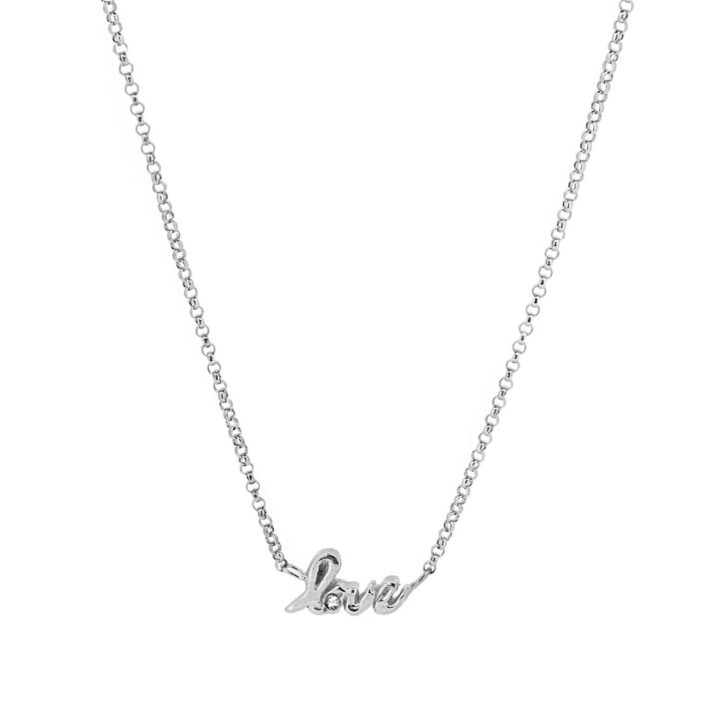 Love Script Necklace with White Sapphire - Silver
