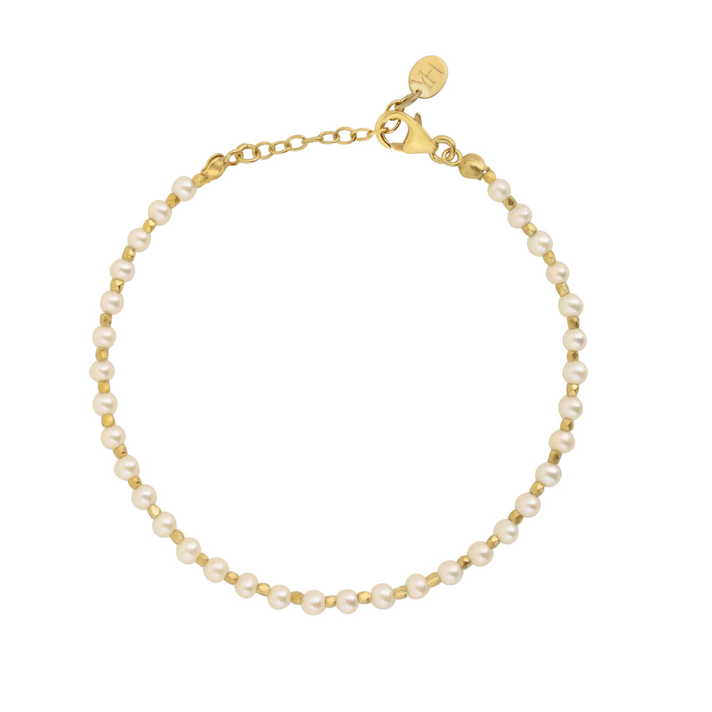 Pearl and Golden Nugget Bracelet