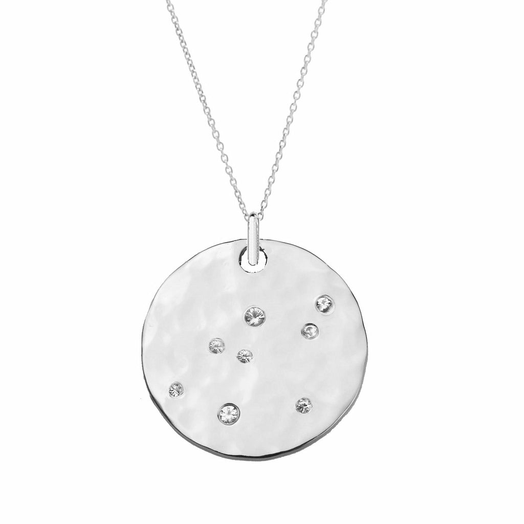 White Sapphire Large Disc Scatter Necklace - Silver