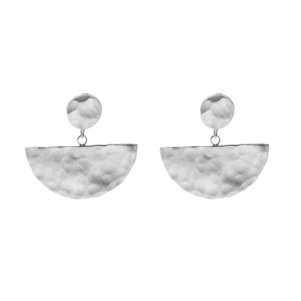 Half Moon Drop Earrings - Silver